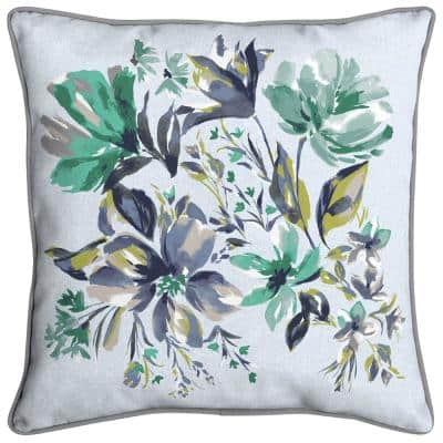 Amara Floral Welted Outdoor Throw Pillow