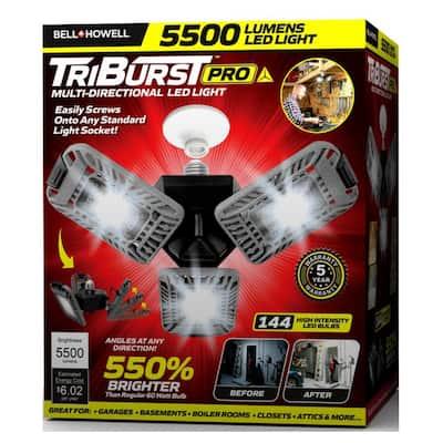TriBurst Deluxe 10.5 in. 144 High Intensity LED 5500 Lumens Flush Mount Ceiling Light