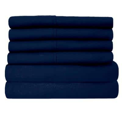 6-Piece Navy Super-Soft 1600 Series Double-Brushed Queen Microfiber Bed Sheets Set