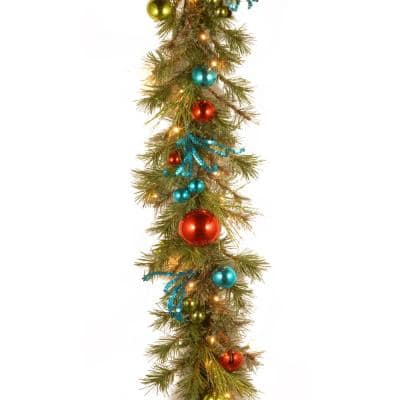 Decorative Collection 9 ft. Retro Garland with Battery Operated Warm White LED Lights