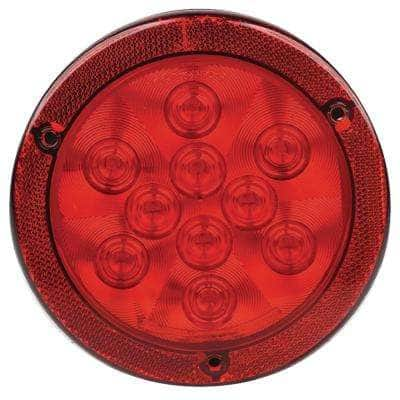 4 in. LED Round Sealed Light with Reflex Mounting Flange in Red