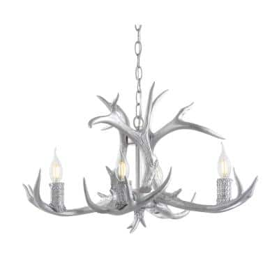 Eldora 26 in. Adjustable Resin Antler 4-Light Silver LED Chandelier