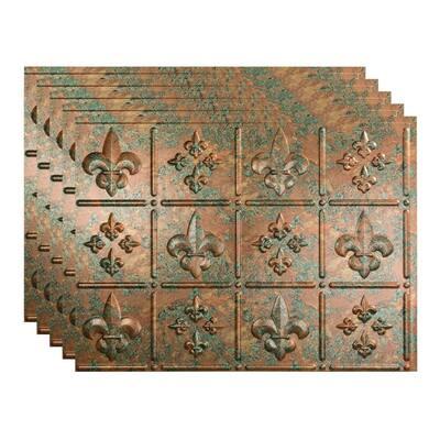 Fleur de Lis 18 in. x 24 in. Copper Fantasy Vinyl Decorative Wall Tile Backsplash 15 sq. ft. Kit