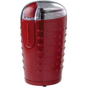 2.5 oz. Maroon One-Touch Electric Coffee Grinder with Transparent Easy Open Lid and Stainless Steel Blades