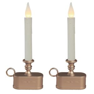 Battery Operated 1 Tier Wireless LED White Candle with Bronze Base (Set of 2)
