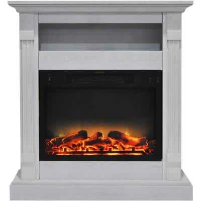 Drexel 34 in. Electric Fireplace with Enhanced Log Display and White Mantel