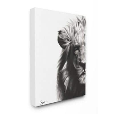 """30 in. x 40 in. """"Black and White Graphite Drawing Textural Lion with Shadows"""" by Eric Sweet Canvas Wall Art"""