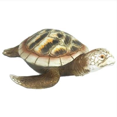 11 in. White Brown Sea Turtle Figurine