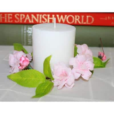 3.5 in. Pink Flower Candle Ring (Set of 4)