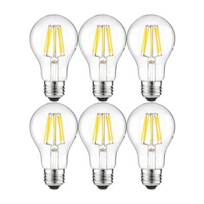 40-Watt Equivalent A19 Dimmable Clear Filament LED Light Bulb in Cool White 4000K (6-Pack)