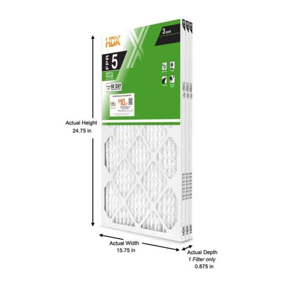 Hdx 16 X 25 X 1 Standard Pleated Air Filter Fpr 5 3 Pack Hdx3p5 011625 The Home Depot