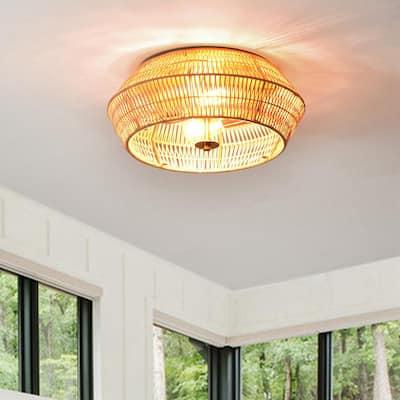2-Light Natural Rattan Outdoor Flush Mount Ceiling Light