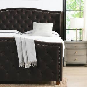 Marcella Upholstered Shelter Headboard Bed Set, King, Seal Brown Performance Velvet