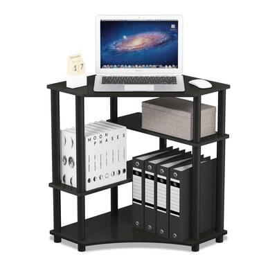 31 in. Corner Espresso/Black Computer Desk with Open Storage