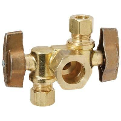 1/2 in. Nominal Comp Inlet x 3/8 in. O.D. Comp x 3/8 in. O.D. Comp Dual Outlet Dual Shut-Off 1/4-Turn Angle Ball Valve