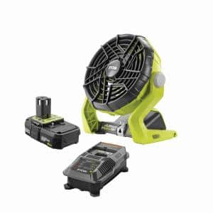 18-Volt ONE+ Hybrid Portable Fan Kit with (1) 2.0 Ah Lithium-Ion Battery and Dual Chemistry Charger