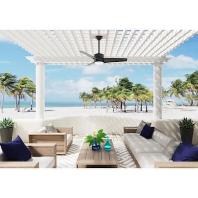 Havoc 54 in. LED Indoor/Outdoor Matte Black Ceiling Fan with Light