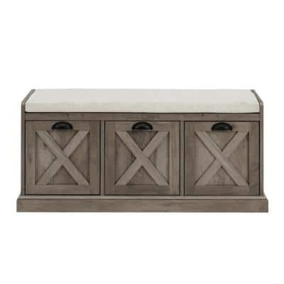 Grey Wash and Oatmeal Wood Storage Bench with 3-Drawers (18 in. H x 39 in. W x 16 in. D)
