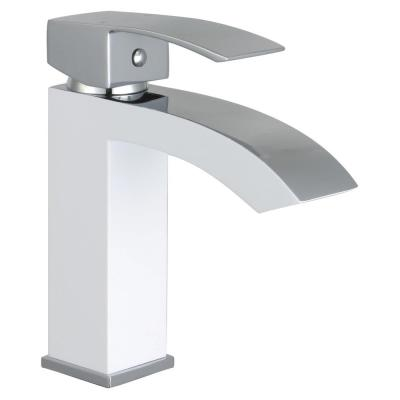 Marella Single Hole Single-Handle Bathroom Faucet in White and Polished Chrome