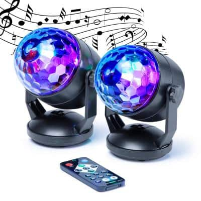 Sound Activated 6 in. Black Party Lights - Multi LED Lighting Modes Plus Rotating Speed Control (2-Pack)