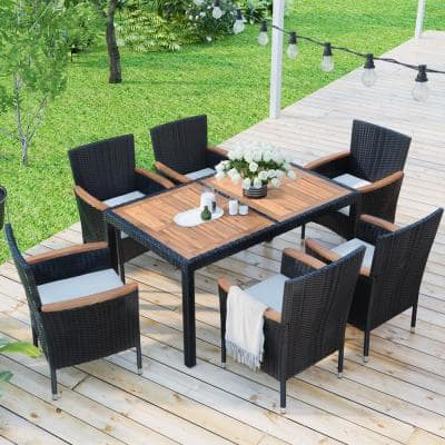 Black 7-Piece Wicker Outdoor Dining Set with Beige Cushions