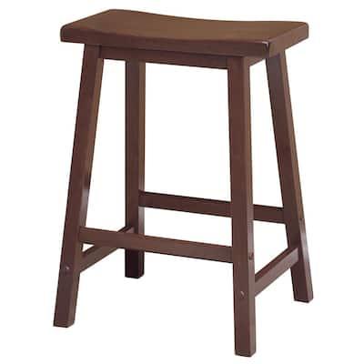Satori 24 in. Saddle Seat Walnut Counter Stool