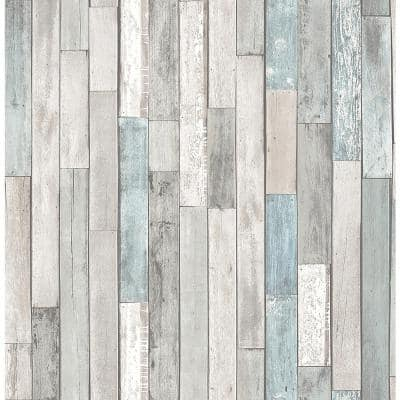 Barn Board Grey Thin Plank Paper Non-Pasted Wallpaper Roll (Covers 56.4 Sq. Ft.)