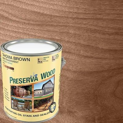 1 gal. Semi-Transparent Oil-Based Tahoma Brown Exterior Wood Stain