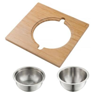 16.75 in. Workstation Kitchen Sink Serving Board Set with Stainless Steel Mixing Bowl and Colander