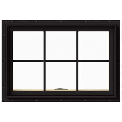 36 in. x 24 in. W-2500 Series Black Painted Clad Wood Awning Window w/ Natural Interior and Screen