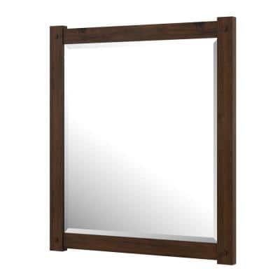 Shay 28 in. W x 32 in. H Framed Rectangular Bathroom Vanity Mirror in Rustic Mango