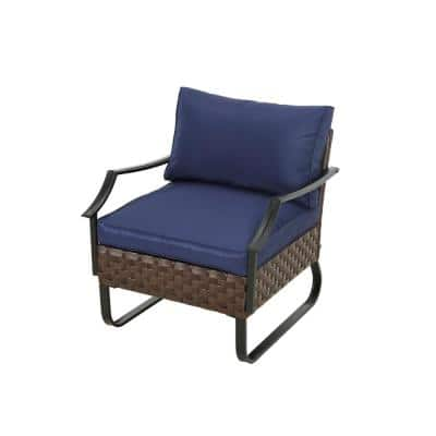 U-Leg 1-Piece Dark Brown Metal Outdoor Arm Chair with Blue Cushions
