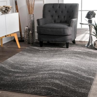 Julene Contemporary Ripples Gray 8 ft. x 10 ft. Area Rug