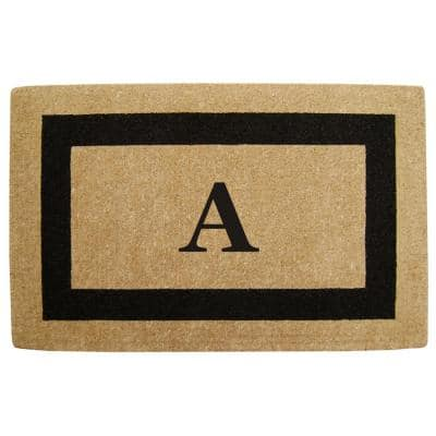 Single Picture Frame Black 30 in. x 48 in. HeavyDuty Coir Monogrammed A Door Mat