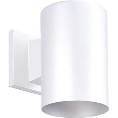 """Cylinder Collection 5"""" White Modern Outdoor Wall Lantern Light"""