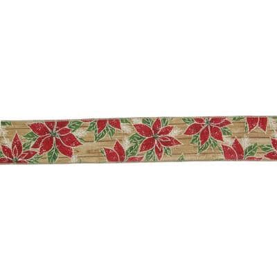 2.5 in. x 16 yds. Red and Green Poinsettia Wood Planks Christmas Wired Ribbon