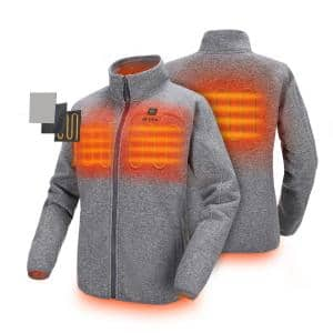 Women's XX-Large Gray 7.4-Volt Lithium-Ion Heated Fleece Jacket with 1-5.2Ah Battery and Charger