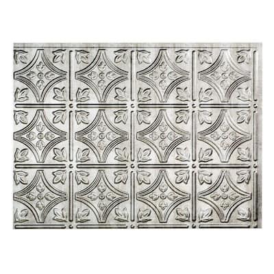 18 in. x 24 in. Traditional #1 Crosshatch Silver Vinyl Backsplash Panel (Pack of 5)