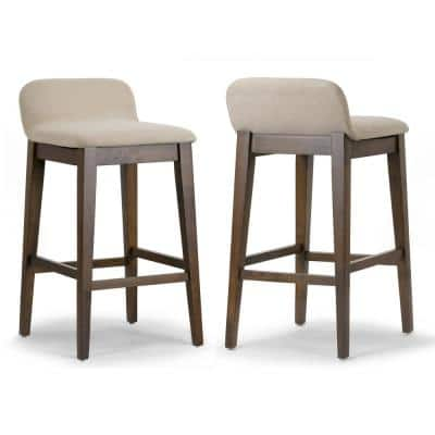 Atia Dark Brown Rubberwood Bar Heigh Barstool with Low Back Fabric Seat (Set of 2)