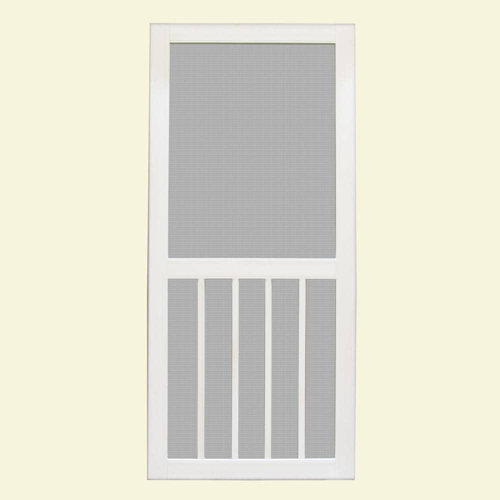 Unique Home Designs 36 In X 80 In Geneva White Outswing Vinyl Hinged Screen Door Ishv700036wht The Home Depot