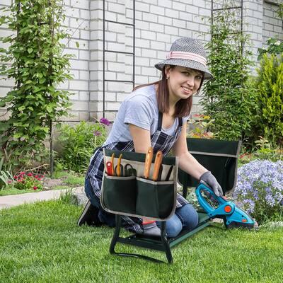 24 in. Folding Garden Kneeler and Seat Outdoor Garden Bench with Tool Bags