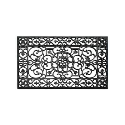 A1HC Indoor/Outdoor All Weather Large Size,Double & Single Doors,Front Door 24 in. x 36 in. Black Rubber Grill Doormat