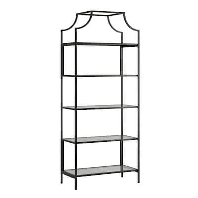 Harvey Park 70.866 in.H Black Metal 5-Shelf Bookcase with Glass Shelves