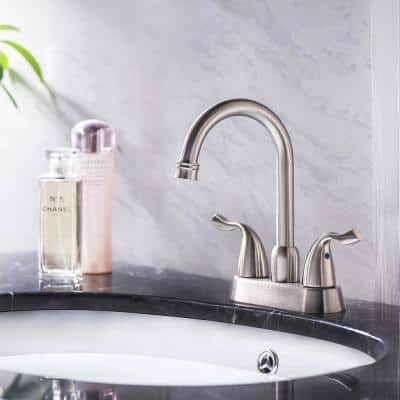 4 in. Centerset 2-Handle Bathroom Faucet with Drain Assembly Included and Scratch Resistant in Brushed Nickel