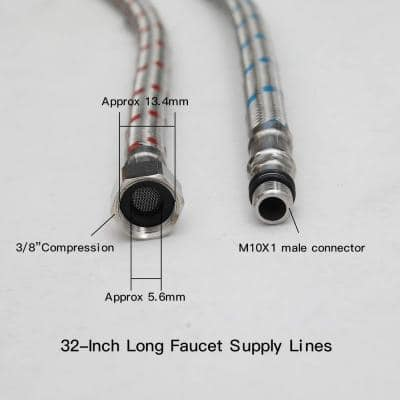 32 in. Braided Stainless Steel Supply Hose 3/8 in. Female Compression Thread x M10 Male Connector x 2-Piece