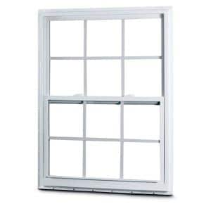 35-1/8 in. x 59-1/4 in. 50 Series Single Hung White Vinyl Window with Nailing Flange and Colonial Grilles