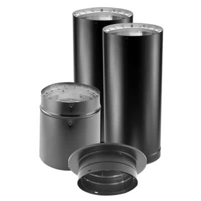 DVL 6 in. x 60 in. Double-Wall Close Clearance Stove Pipe Connector Kit in Black
