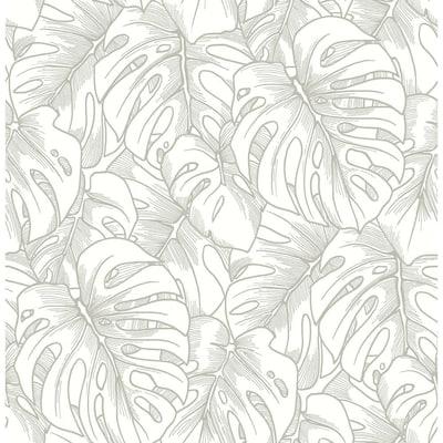Balboa Silver Botanical Silver Wallpaper Sample