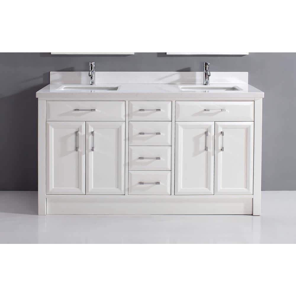 Studio Bathe Calais 63 In Vanity In White With Solid Surface Marble Vanity Top In White Calais 63 White Solid Surface The Home Depot