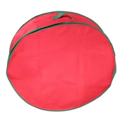 36 in. Red and Green Christmas Wreath Storage Bag